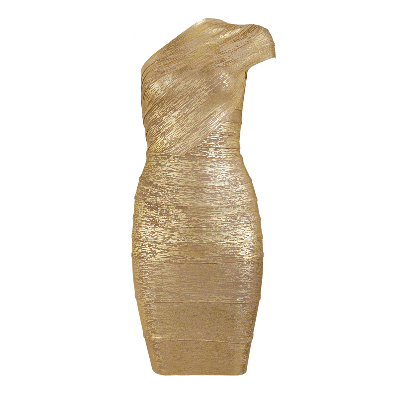 Single Shoulder Gold Dress H108J$119