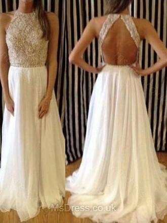 dress long prom dress prom dress a-line necklace
