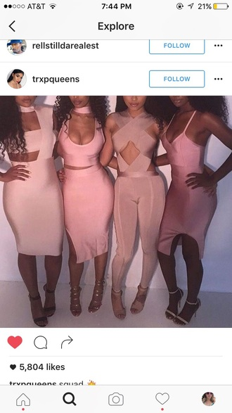 dress baddies bodycon dress pink dress bandage dress