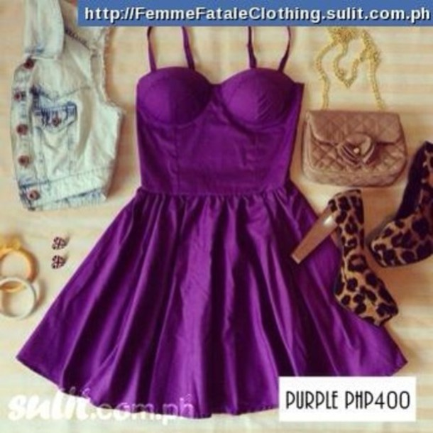 dress purple dress cute dress purple little dress clothes bag shoes jewels jacket