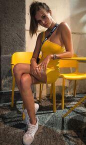 dress,yellow,yellow dress,mini dress,sneakers,josephine skriver,model off-duty,instagram