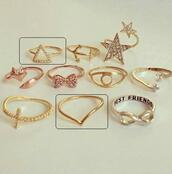 jewels,ring,triangle ring,v shape,v shape ring,knuckle ring,above knuckle ring,rhinestones,gold ring,triangle rhinestone ring,jewelry,bff,stars,bows