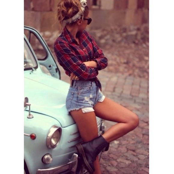 red boots High waisted shorts blouse flannel shorts combat boots bandana headband sunglasses
