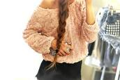 sweater,nude,roses,oversized sweater,blouse,floral,white,sweatshirt,t-shirt,shirt,pink,top