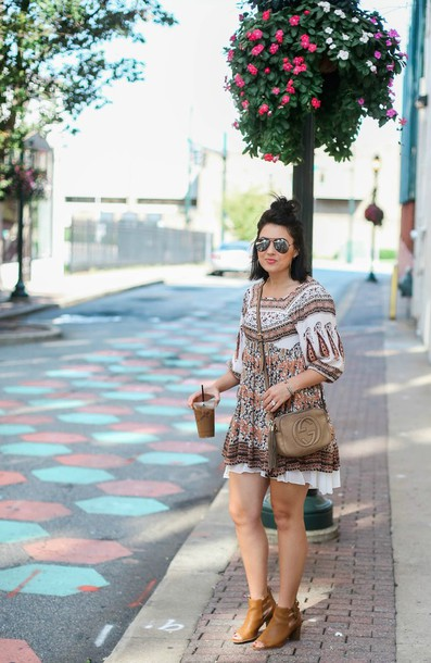 life & messy hair blogger shoes bag jewels mini dress long sleeves shoulder bag gucci gucci bag ankle boots nude boots round sunglasses stacked wood heels