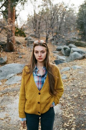 cardigan yellow fall outfits lemongrass flannel flannel shirt hipster forest green