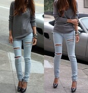 jeans,pants,sweater,shoes,clothes jeans,clothes,bag,ripped jeans,holes,blue,jumper,grey,knit,light blue denim,longarms,skinny jeans,ripped light jeans,skinny pants,ripped,light blue,high waisted skinny light blue jeans,jeans ripped,blouse,light washed denim,denim,skinny,light blue jeans,high wasted denim jeans,cool