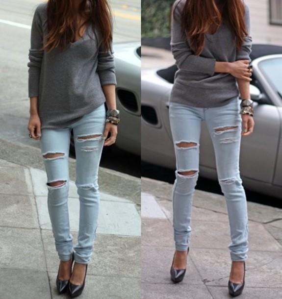 e8929925ba3b3 jeans pants sweater shoes clothes jeans clothes bag ripped jeans holes blue  jumper grey knit light