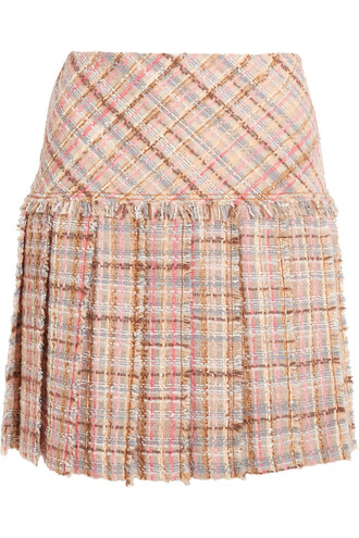 skirt mini skirt mini pleated wool blush