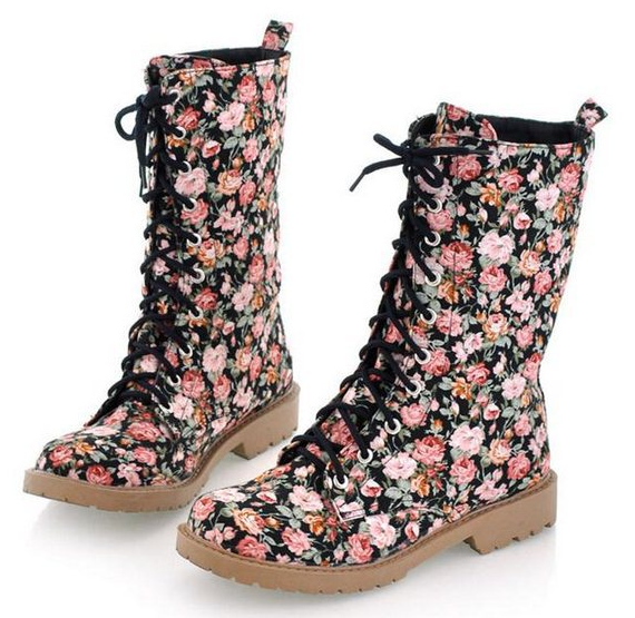 Winter warm canvas ankle half knee boots