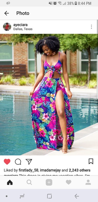 dress maxi dress summer dress tropical dress