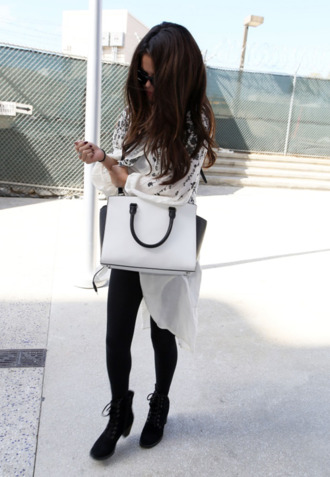 white bag bag sweater shoes black suede booties black and white