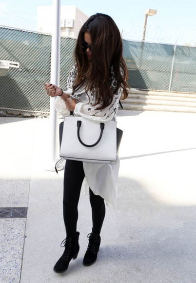 bag white bag sweater shoes black suede booties black and white