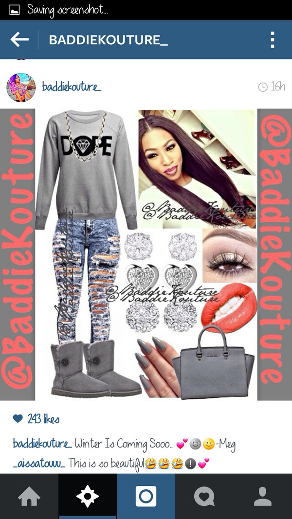 dope outfit outfit idea baddiekouture_ shoes jeans jewels bag instagram grey sweater ripped jeans mascara