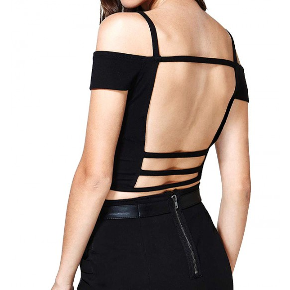 Cold Shoulder Crop Top With Strappy Back at Style Moi