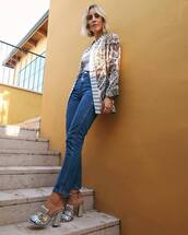 jacket,satin,floral kimono,jeans,mules,top,floral