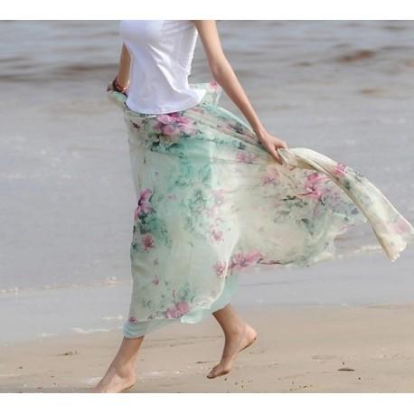Light Blue High Quality Chiffon skirt Maxi Skirt Long Skirt lml4003 - lol-malls - Trustful Online Shopping for Women Dresses