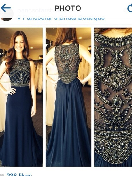 e5fafaaee dress prom dress PLL Ice Ball clothes tumblr clothes navy gold beaded blue  dress evening dress