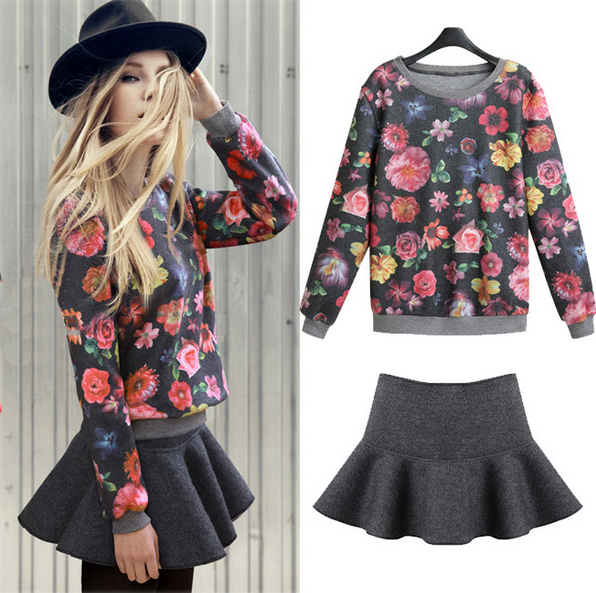 Flowers printing Sweatshirts & Skirt