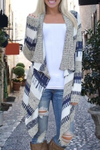 cardigan fall outfits style fashion winter outfits warm cozy long casual grey pattern knitwear coat kimono blue trendy cute stylish long sleeve knitted irregular loose-fitting cardigan for women girly girl girly wishlist