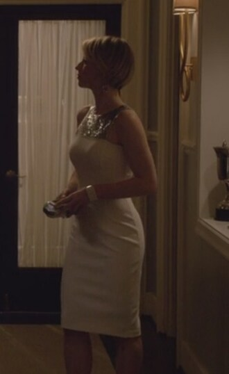 dress white and silver sequins panel revenge margaux lemarchal karine vanasse michael kors