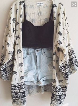 cardigan clothes cute kimono boho hippie elephant print crop tops ripped shorts summer casual pretty cream denim indian floaty gorgeous