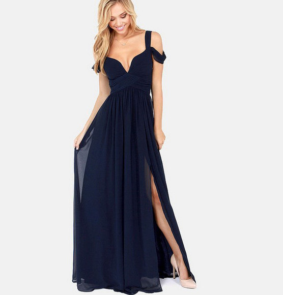 off the shoulder long dress prom slit blue maxi dress chiffon dress deep v dress prom dress