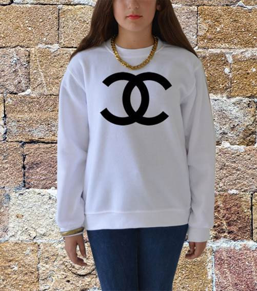 coco chanel sweatshirt in white and gray men women by celebritee. Black Bedroom Furniture Sets. Home Design Ideas