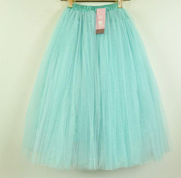 Elegant stylish womens knee length mint green tulle skirt