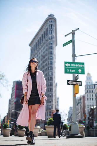 style scrapbook blogger dress coat bag shoes sunglasses