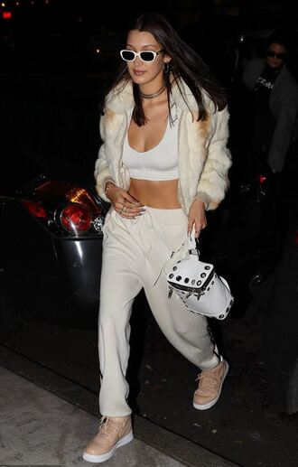 pants sweatpants crop tops top jacket bella hadid streetstyle shoes