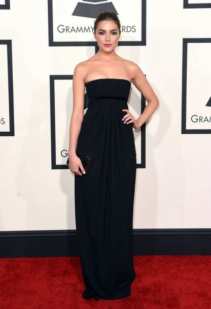 dress bustier olivia culpo strapless black gown grammys 2015