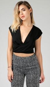 top,black,v neck,crop tops,zipper back,style cute