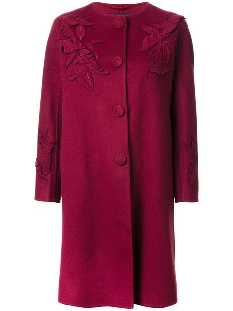 Ermanno Scervino coat women wool leaves red