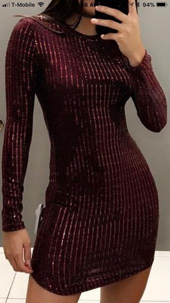 dress burgundy dress bodycon dress sequin dress long sleeve dress