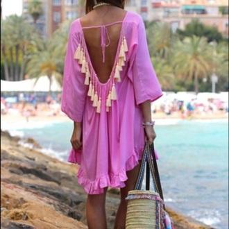 dress tassell kaftan backless beach dress