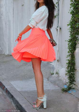 skirt white coral skirt tumblr pink skirt pink high waisted high waisted skirt coral pink neon skirt