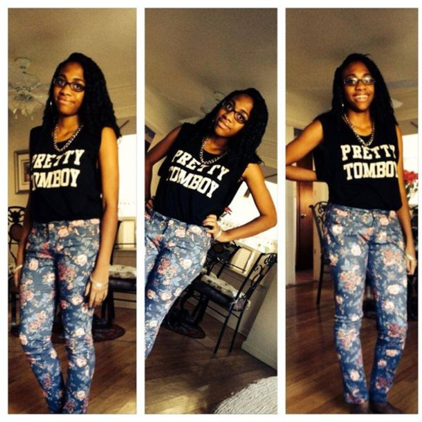 shirt tomboy swag dope pretty jcpenny's swag tomboy shirt flowers forever 21 pants