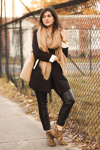 blogger carly maddox scarf leopard print ankle boots tote bag leather pants