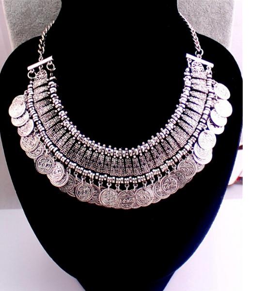 New Design Euramerican Silver Coins Bib Statement Chunky Nice Choker Necklace | eBay