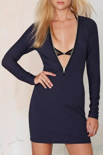 dress sexy blue fall outfits navy long sleeves fashion style zip