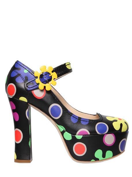 pumps floral leather black shoes