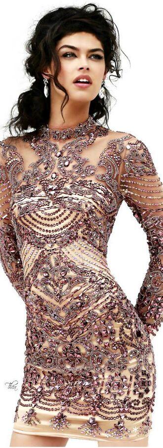 dress long sleeve dress beading silver and nude