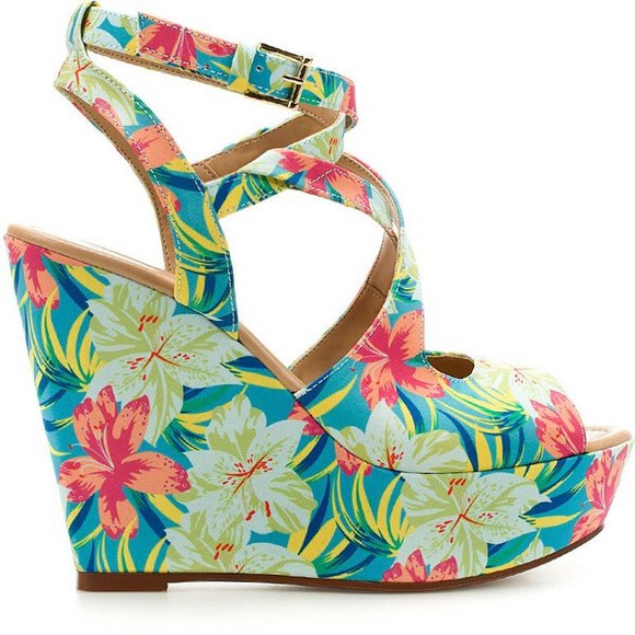 printed shoes wedges summer open toe