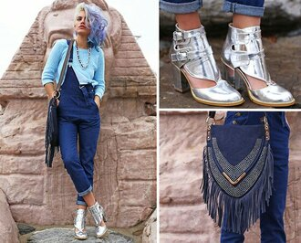 jumpsuit/rompers blue sweater silver boots boots cut out ankle boots new look vintage clothes jumpsuit bag jeans