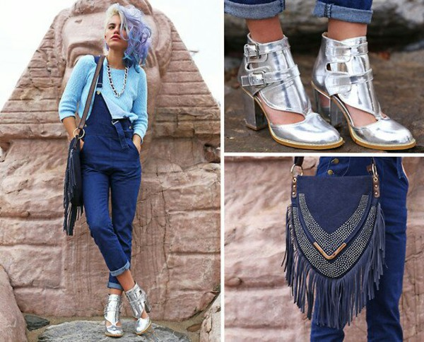 blue sweater silver boots boots cut out ankle boots vintage clothes jumpsuit bag jeans