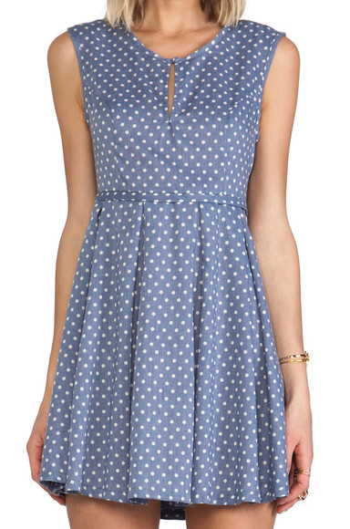 dress polka dot blue dress