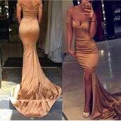 dress,nude dress,tight,prom gown,off the shoulder,long dress