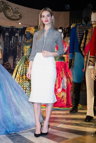 shirt skirt dress lily james pumps