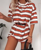 dress,t-shirt,stripes,orange,white,t-shirt dress,summer